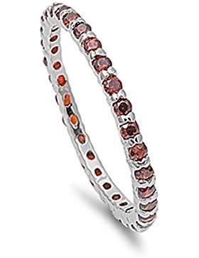 Ring aus Sterlingsilber mit Granat Zirkonia