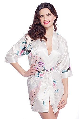 Edler Morgenmantel Kimono aus Satin Größen S-XXL VA56/Weiß