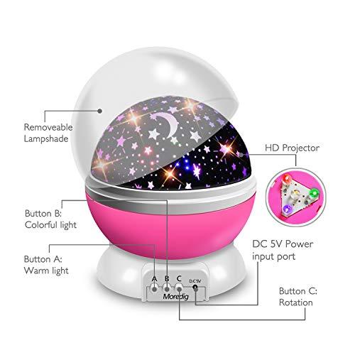 41rsjsJX1vL - Moredig Lampara Proyector Infantil, 360° Rotación y 8 Modos Iluminación Proyector Estrellas, Luz de Nocturna para Niños y Bebés Cumpleaños, Día de los Reyes, Navidad, Halloween Rosa