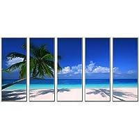 [Grey Art] Cuadros en Lienzo - 5 pieza - modelo Las imágenes estan listas El diseño de la impresión artística como Mural - Decoración del hogar - Decoración de pared - en un marco - 12x32inchx5pcs - Playa de coco