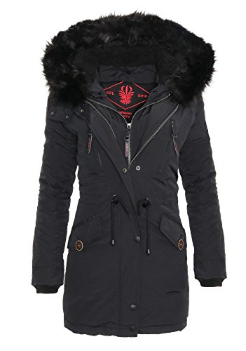 Marikoo Damen Winter Parka Mantel Trend Damen Jacke Fellkragen Kapuze – Apple53
