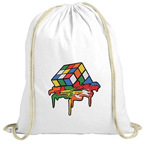 Zauberwürfel natur Turnbeutel mit Magic Cube Melting Motiv von ShirtStreet weiß natur
