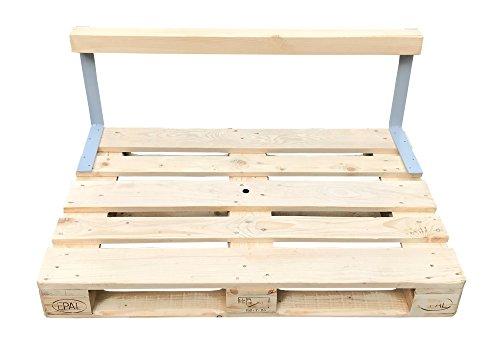 relaxedLiving | Rücklehne für Palettenmöbel | zum Anschrauben | für Euro-Paletten | massiv | DIY Möbel | 2 Stahlwinkel & 1 Holzbalken | Zubehör | Palettenmöbel | Einrichtung