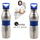 Nouvetta Set of 2 Sports Water Bottle, 650 ml, Blue Silicon Band