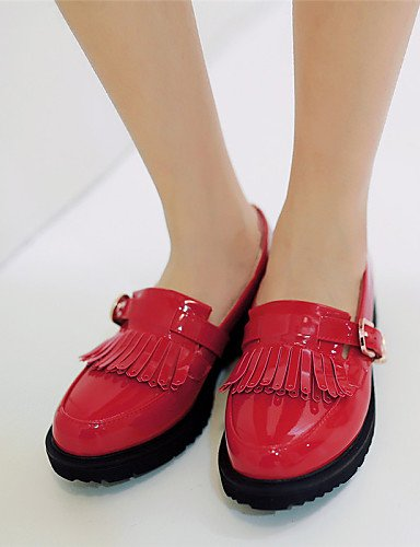 ZQ gyht Scarpe Donna - Mocassini - Tempo libero / Formale / Casual - Plateau / Creepers / Punta arrotondata - Plateau - Finta pelle -Nero / Rosso , red-us9 / eu40 / uk7 / cn41 , red-us9 / eu40 / uk7 / white-us6 / eu36 / uk4 / cn36