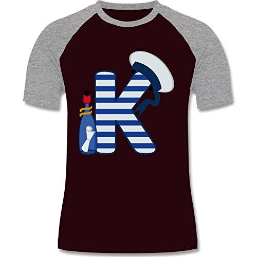 Anfangsbuchstaben - K Schifffahrt - zweifarbiges Baseballshirt für Männer Burgundrot/Grau meliert