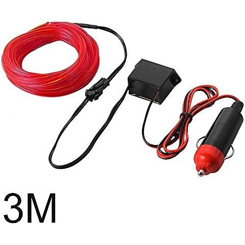 XCSOURCE 3M EL Filo Tubo corda del LED striscia flessibile della luce al neon con Controller per decorazione del partito dell'automobile di nozze (Red) LD815