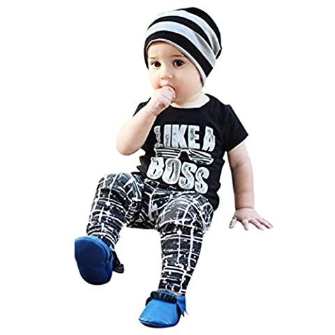 Garçon Ensemble, IMJONO 2PCS Tout petit Bébé garçon Lettre T-shirt Tops Pants Outfits Set de vêtements (3-4 ans, Noir)