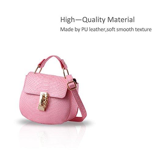 NICOLE&DORIS Ragazze carine borsa a tracolla alla moda borsa del messaggero di Crossbody della maniglia Borsa multiuso PU cielo blu Rosa