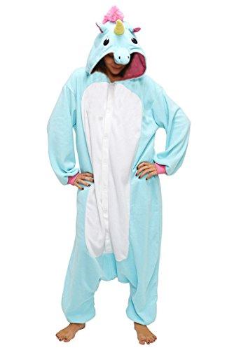 Anbelarui Tier Skelett Pinguin Dinosaurier Panda Einhorn Kostüm Damen Herren Pyjama Jumpsuit Nachtwäsche Halloween Karneval Fasching Cosplay Kleidung S/M/L/XL (L, Blaues (Weißes Einhorn Kostüm)