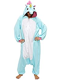 Anebalrui Damen Herren Jumpsuit Overall Fasching Tier Einhorn Kostüm fasching Anime Cosplay Halloween Karneval Kostüm Schlafanzug Pyjama
