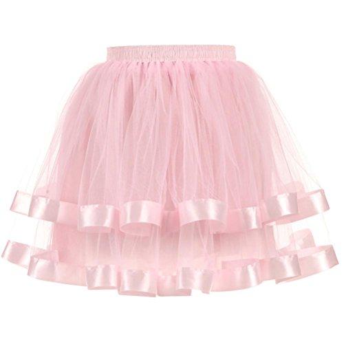 Damen Petticoat Unterrock Vintage 1950er Rockabilly kleid Mini Tütü Röcke Retro Ballett Tanzkleid Pettiskirt für Partykleid Abendkleid Cocktailkleid (One Size, Rosa) (1950 Tanz Kostüm)