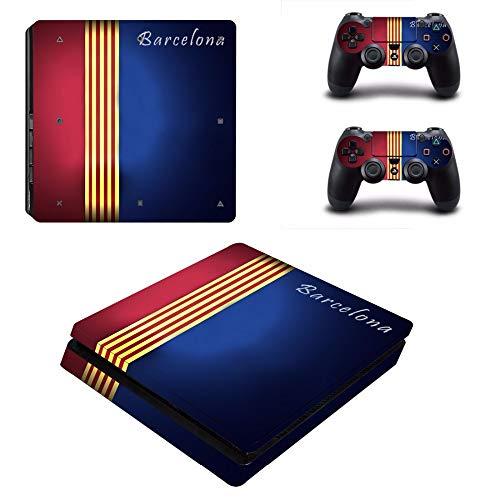 SJYMKYC Barcelona Fußball PS4 Slim Skin Aufkleber Für Sony Playstation 4 Konsole Und Controller Aufkleber PS4 Slim Aufkleber Vinyl -