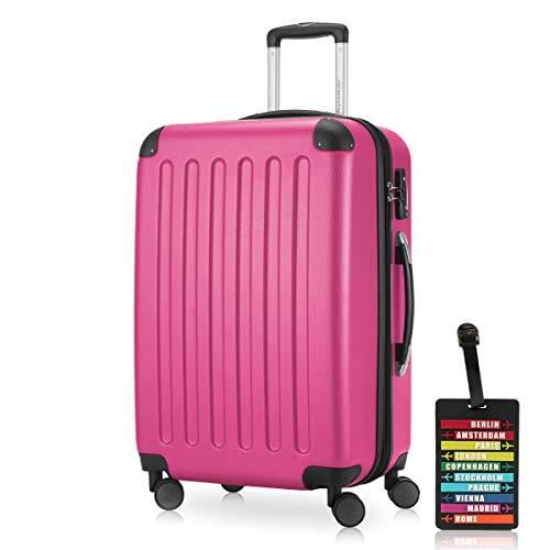 Hauptstadtkoffer - Spree Hartschalen-Koffer Koffer Trolley Rollkoffer Reisekoffer Erweiterbar, 4 Rollen, TSA, 65 cm, 74 Liter, Pink inkl. Design Kofferanhänger