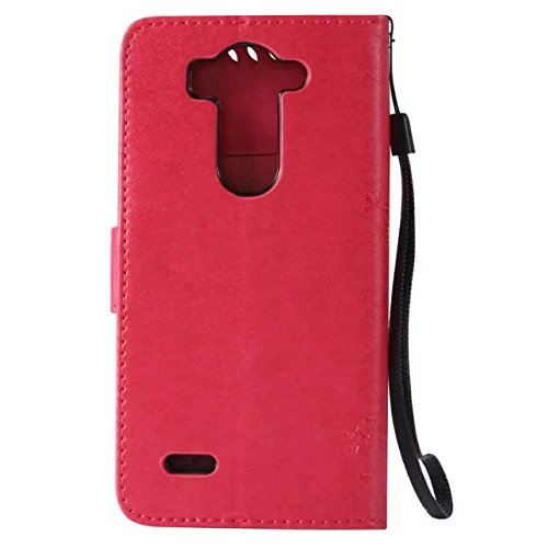 Solid Color Premium PU-Leder Tasche Cover mit Prägung Katze & Baum Muster Wallet Stand Case Soft Silikon-Abdeckung für LG G3 mini ( Color : Coffee , Size : LG G3 Mini ) Rose