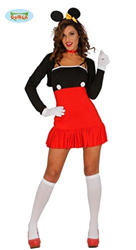 Maus Kostüm für Damen Mäuse Mini Kleid Schwarz -
