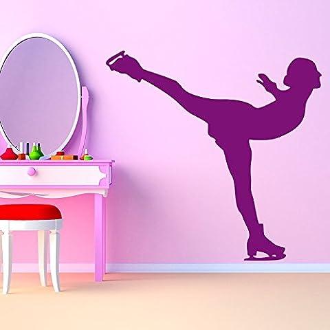 Pattinaggio di figura Femmina di posa sul ghiaccio Wall Stickers Sport Decor decalcomanie di arte disponibile in 5 dimensioni e 25 colori Medio Bianco