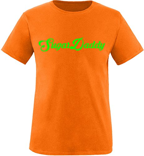 EZYshirt® Sugardaddy Herren Rundhals T-Shirt Orange/Neongrün