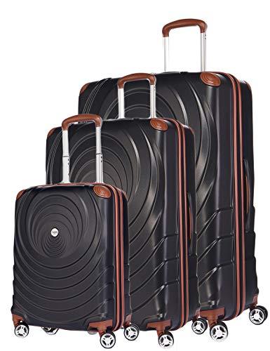 Verage Spiral ABS Hartschale Trolley 3er Set-S-M-L (Schwarz), 4x360 Grad Doppelrolle Reisekoffer, TSA integriert, erweiterbar
