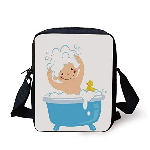 Nursery,Baby Boy with Smiley Face Having Bubble Bath with Rubber Duck Kids Theme Art,White and Blue Print Kids Crossbody Messenger Bag Purse -