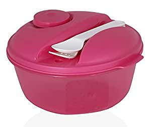Tupperware Salad-to-Go Lunch Set, Bowl, Utensils, Dressing Container, Blue by Tupperware