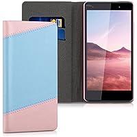 kwmobile Funda para Wiko Fever 4G - Wallet Case plegable de cuero sintético - Cover con tapa tarjetero y soporte en rosa palo azul claro