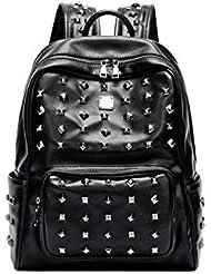 0f656ed1aa9ce Jnday Herren Backpack Geräumig Cityrucksack Coole Rucksack mit Nieten  Daypacks Jungs Abriebfest Tagesrucksack Wasserfest Leder Schultasche