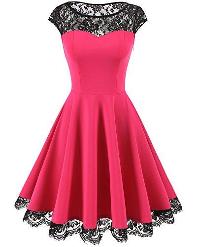 Homrain Damen 1950er Elegant Spitzenkleid Rundhals Knielang Festlich Cocktail Abendkleid Rose 2XL
