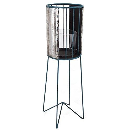 Laterne Beach Lounge Design Metall silber blau Windlicht (67x19x19cm)