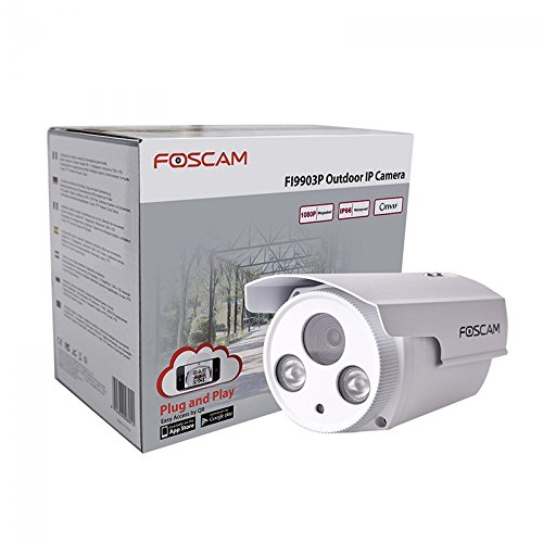 Foscam FI9903P Telecamera, HD 2.0 MP, H.264, 1080P Full HD, 70°, Esterno, Visore Notturna, Rilevatore Movimenti, Alerte Mail/FTP, Compatibile iPhone e Android