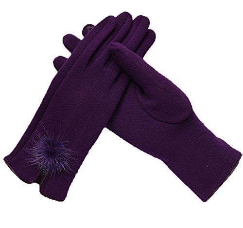 Ogert Frau Warmen Herbst Und Winter Invertiert Kaschmir Handschuhe,Purple-Big