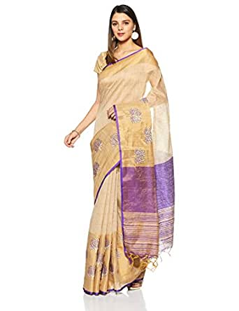 Aalia Art Silk Embroidered Saree with Blouse piece (8839_Beige and Purple_One size)
