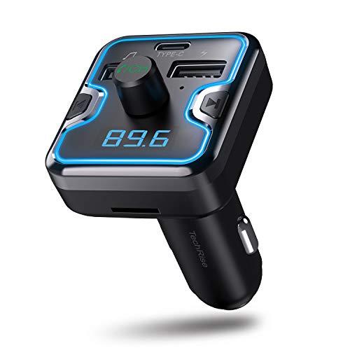 TechRise Car Bluetooth FM Transmitter, drahtloser Radioempfänger, Bluetooth 5.0 Adapter, Kfz-Einbausatz mit zwei USB-Ladegeräten und Ladeanschluss Typ C, Musik-Player-Unterstützung, USB-Flash-Laufwerk