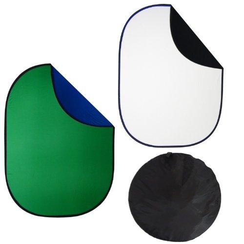 DynaSun Kit Hintergrund Faltreflektor 2-in-1 Reflektor, 150 x 200 cm XXL schwarz/weiß/blau/grün -