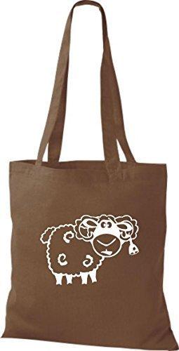shirtstown Borsa di stoffa animale pecora pecore marrone medio