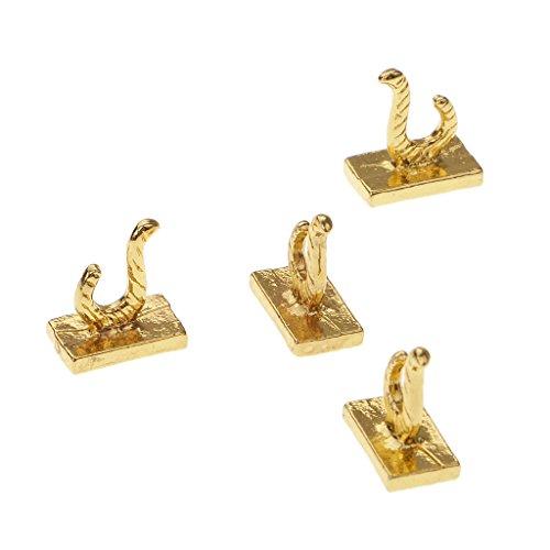 C2K Dolls House Miniature Metal Hanging Hook Hanger Home Accessory Gold 4pcs