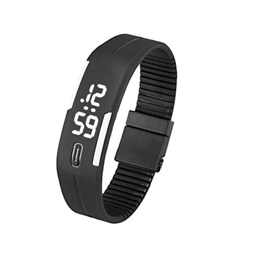 Fortan Frauen der Männer Gummi LED-Uhr-Sport-Armband-Digital-Armbanduhr-B&W