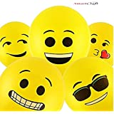 Smartcraft Emoji Balloons Latex Yellow Emoji Smiley Balloons (Pack of 25)