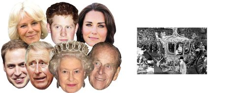 4 Familie Kostüm (Diamond Jubilee Royal Family Packung von 7 (Kate Middleton, Prince Willam, Prince Harry, The Queen, Prince Philip, Prince Charles, Camilla) - Enthält 6X4 (15X10Cm))