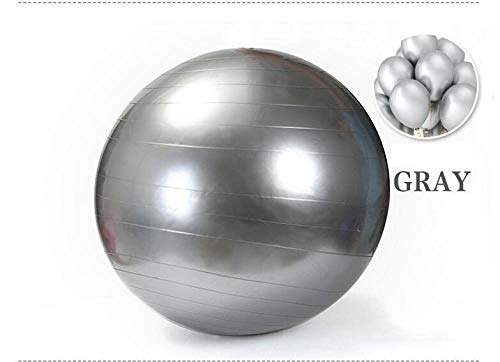 Gymnastikball, Pilates Yoga Ball mit Quick Pump 55cm / 65cm / 75cm Anti-Rutsch-Geburtsball für Physiotherapie, Fitness, Schwangerschaft & Heimtraining, Core TRAI @ Silver_55cm
