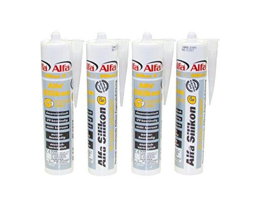 4x Bau-Silikon 300 ml, UV- und witterungsbeständiger Qualitäts-Dichtstoff grau/weiß/transparent (Grau)