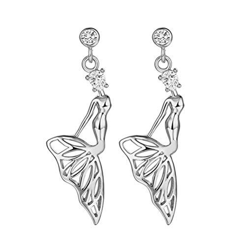 TENDYCOCO 1 para Frauen Zirkon Ohrringe Elegante Meerjungfrau Form Hängen Lange Stil Diamant Ohr Ringe Schmuck Dekor Geschenk für Mädchen Dame (Silber) (Kleine Die Meerjungfrau-dekor)