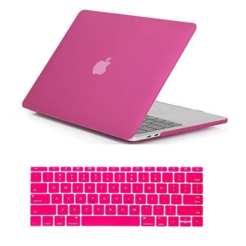 rygou matt klar Hard Case Tastatur Cover für Neuestes MacBook Pro 38,1cm mit Touch Bar Modell: A1707(veröffentlicht in OCT 2016) hot pink (A1706)-13''Macbook Pro with touch bar 2016 Hot Pink Hard Case