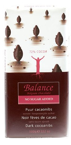 Balance No Added Sugar 72% Dark Chocolate Bar with Cocoa Nibs 100 g