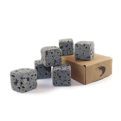 AQO Eco Bricks - 6 wasserreinigende Aquarium Deko Steine - 100% Vulkangestein