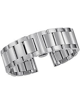 Superior gebürstetem Stahl Uhrenarmband Armband in Silber 21mm 316l Edelstahl Vollglieder Doppelverriegelung