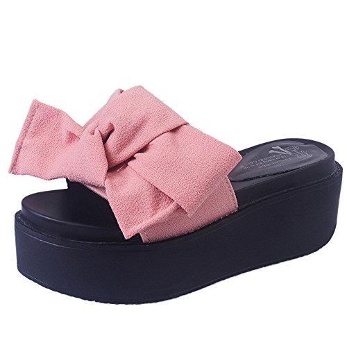 Longra Donna Piattaforma impermeabile Bowknot con pantofole spesse Rosa