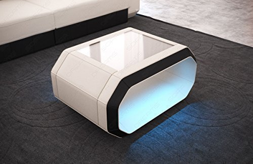 Table basse Table d'appoint Table de salon TISSU ROMA avec éclairage LED à batterie