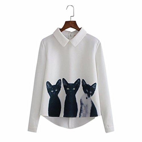 Jaminy Voll Hülse Frauen Locker Chiffon Drei Katzen Tops Langarm Casual Bluse Hemd (M) (Rock Kasper Anzug Schwarzen)