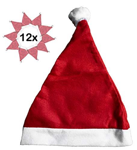 12x Weihnachsmütze Nikolausmütze rot mit Plüsch-Bommel |hochwertig, weich für Kinder und Erwachsene | Weihnachtsmann Santa Claus Xmas Mütze im Set | Für Weihnachten Nikolaus-Kostüm ()